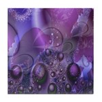 Purple Fractal Image Tile Coaster