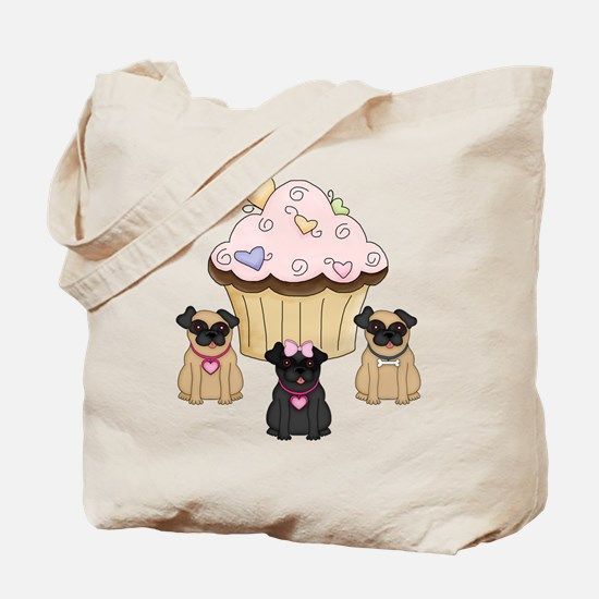 Pug Dog Cupcakes Tote Bag