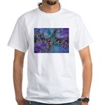 Purple Fractal Pattern White T-Shirt