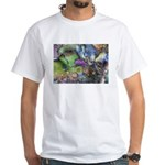 Purple Fractal Design White T-Shirt