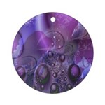 Purple Fractal Image Keepsake (Round)