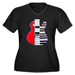 Tonality Women's Plus Size V-Neck Dark T-Shirt
