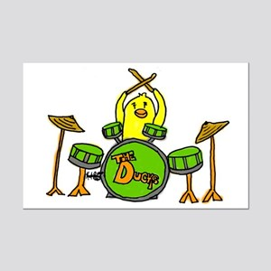 Duck Playing Drums Mini Poster Print