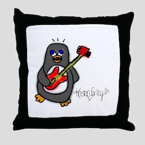 Penguin Playing Guitar Throw Pillow