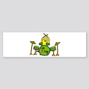 Duck Playing Drums Bumper Sticker