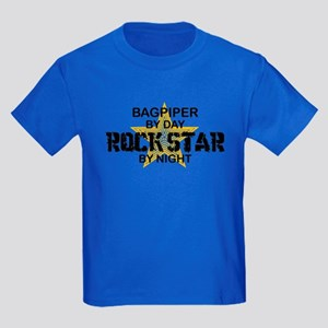 Bagpiper Rock Star Kids Dark T-Shirt