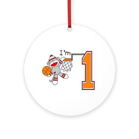 SockMonkey Hoops First Birthday Ornament (Round)