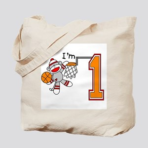 SockMonkey Hoops First Birthday Tote Bag
