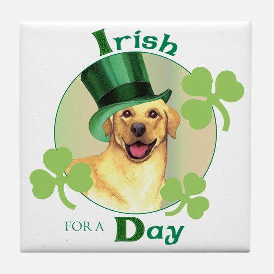 St. Patrick Yellow Lab Tile Coaster