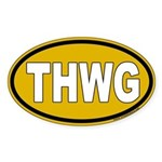 THWG Gold Background Oval Sticker