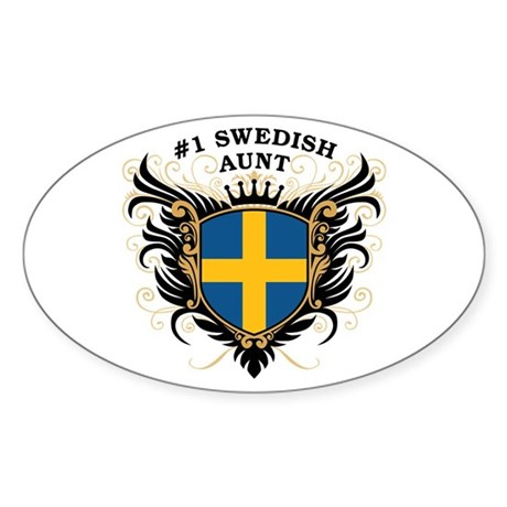 Number One Swedish Aunt Oval Sticker