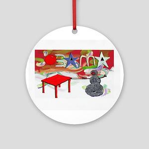 Obama Table Snowman (2) Ornament (Round)