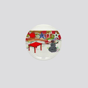 Obama Table Snowman (2) Mini Button