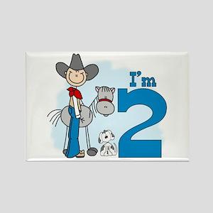 Stick Cowboy 2nd Birthday Rectangle Magnet