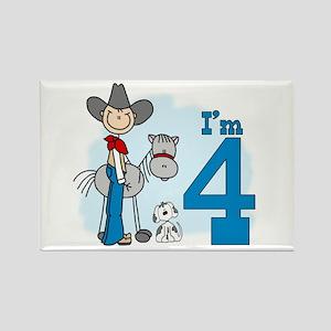 Stick Cowboy 4th Birthday Rectangle Magnet