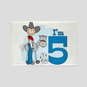 Stick Cowboy 5th Birthday Rectangle Magnet