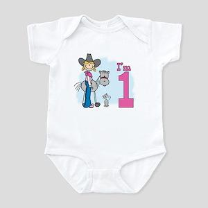 Stick Cowgirl First Birthday Infant Bodysuit