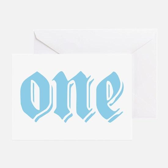 ONE birthday boy blue Greeting Card