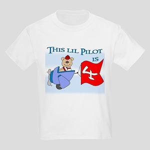 Lil Pilot 4th Birthday Kids Light T-Shirt