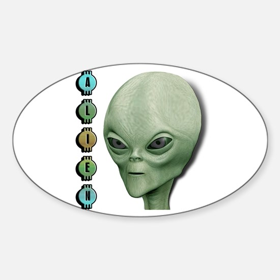 Alien Type 1 Lime Part 2 Oval Decal