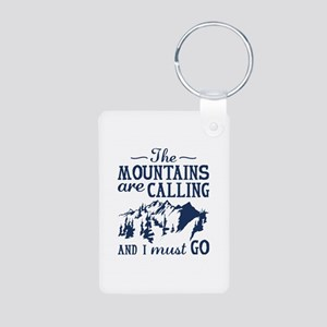 The Mountains Are Calling Aluminum Photo Keychain