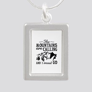 The Mountains Are Calling Silver Portrait Necklace