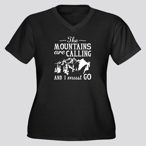 The Mountains Are Calling Women's Plus Size V-Neck