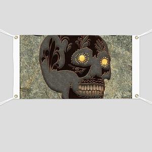 Beautiful sugar skull, steampunk design Banner