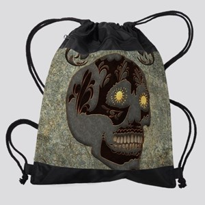 Beautiful sugar skull, steampunk design Drawstring
