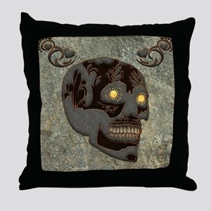 Beautiful sugar skull, steampunk design Throw Pill