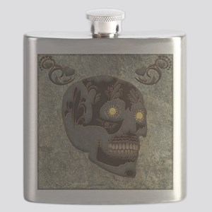 Beautiful sugar skull, steampunk design Flask