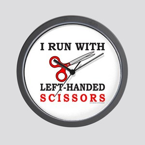 I RUN WITH LEFT HANDED SCISSORS Wall Clock