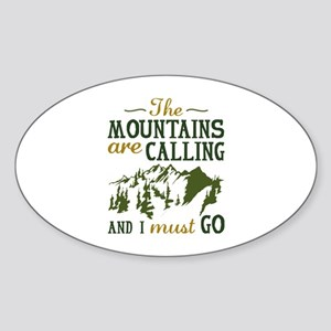 The Mountains Are Calling Sticker (Oval)