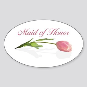 Pink Tulip Maid of Honor Oval Sticker