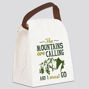 The Mountains Are Calling Canvas Lunch Bag