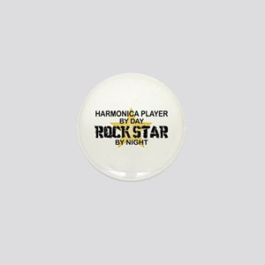 Harmonica Player Rock Star Mini Button