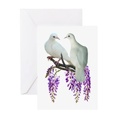 Doves in Wisteria Greeting Card
