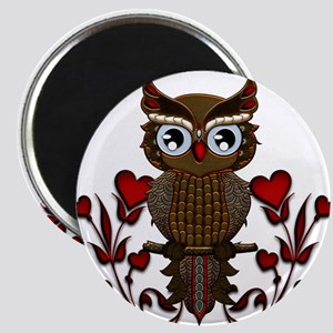 Wonderful steampunk owl on red background Magnets