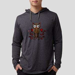 Wonderful steampunk owl on red background Long Sle