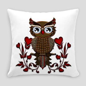 Wonderful steampunk owl on red background Everyday
