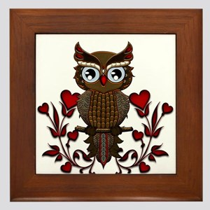 Wonderful steampunk owl on red background Framed T