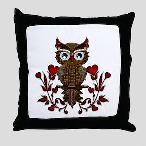 Wonderful steampunk owl on red background Throw Pi