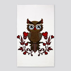 Wonderful steampunk owl on red background Area Rug