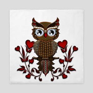 Wonderful steampunk owl on red background Queen Du