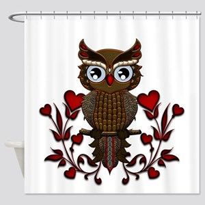 Wonderful steampunk owl on red background Shower C