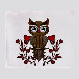 Wonderful steampunk owl on red background Throw Bl