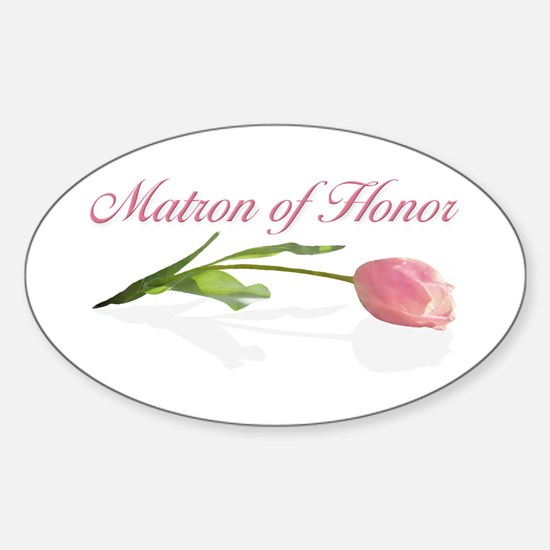 Pink Tulip Matron of Honor Oval Decal