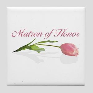 Pink Tulip Matron of Honor Tile Coaster