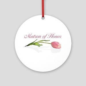 Pink Tulip Matron of Honor Ornament (Round)