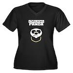 Crunk Panda™ Women's Plus Size V-Neck Dark T-Shirt